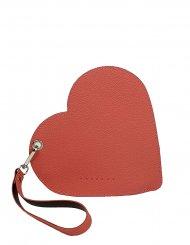Elegantní dámské kožené psaníčko do ruky FACEBAG srdce - Broskvová + vínová
