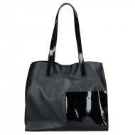 Dámská kožená kabelka FACEBAG LIMOSA - Černá v kombinaci s černým lakem