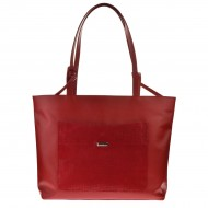 Dámská kožená kabelka FACEBAG SACCA - Červená s perforovanou kapsou