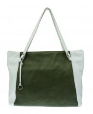 Kožená kabelka FACEBAG ROSA - zelená + bílá