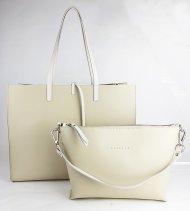 Dámská kožená kabelka FACEBAG 2v1 CHERI 1 - Béžová *ruga*