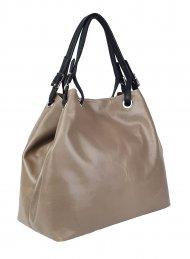 Luxusní dámská kožená kabelka FACEBAG LAURA - Taupe hladká