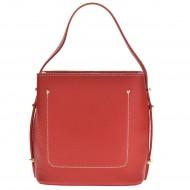 Dámská italská kožená kabelka FLEA - Červená