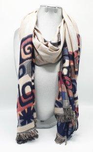 Dámská zimní šála ze směsi bavlny a viskózy modrá se vzorem