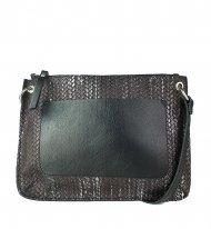 Dámská kožená kabelka FACEBAG - CANNET - Tmavé pletené stříbro + černá