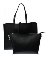 Dámská kožená kabelka FACEBAG 2v1 CHERI 1 - Černá