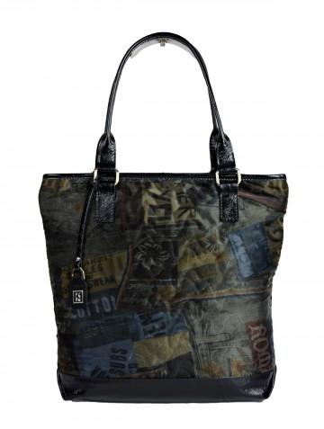 Dámská látková kabelka FACEBAG JANA - 3D látka + kůže