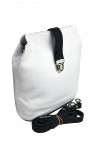 Dámská kožená kabelka FACEBAG ANNA - Bílá + černá *dolaro*