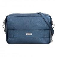 Dámská kožená kabelka FACEBAG NINA - Metalická modrá