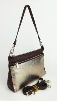 Dámská kožená kabelka FACEBAG ADA - Tmavá hnědá + zlatá hladká