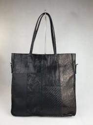 Dámská italská kožená kabelka SVEZIA - Černá patchwork