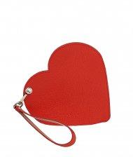 Elegantní dámské kožené psaníčko do ruky FACEBAG srdce - Červená + pudrová