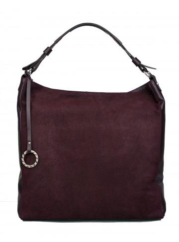 Dámská kožená kabelka FACEBAG  ELIA - Vínová perfor