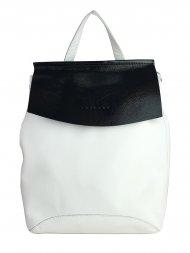 Designový kožený batůžek FACEBAG KENNY 8018 - Bílá hladká + černá lak