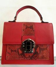 Dámská italská kožená kabelka 8835 - Červená s hadím vzorem
