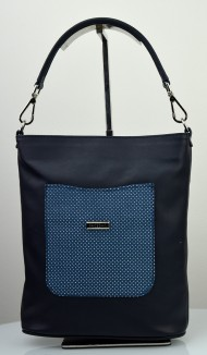 Dámská kožená kabelka FACEBAG LINA - Modrá s perforovanou kapsou