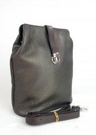 Dámská kožená kabelka FACEBAG ANNA - Metalická tmavá hnědá *dolaro*