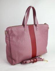 Dámská italská kožená kabelka 2997 - Starorůžová + červená *dolaro*