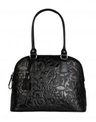 Dámská kožená kabelka FACEBAG GIULIANA - Černá se vzorem květin