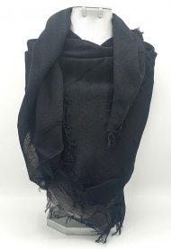 Dámský šátek ze směsi bavlny a viskózy černý s třásněmi