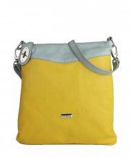 Dámská kožená kabelka FACEBAG SISA - Žlutá + šedá