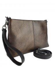 Dámská kožená kabelka FACEBAG MAXA - Metalická hnědá *dolaro*