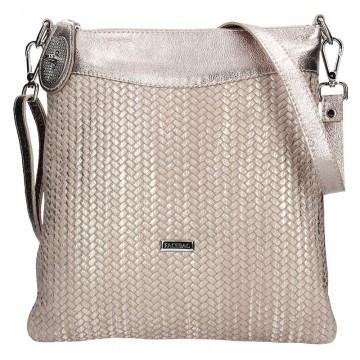 Dámská kožená kabelka FACEBAG SISA -Zlatá pletená