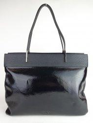 Dámská italská kožená kabelka RIPANI 9931 QO 003 VANILLA - Černá lak + dolaro