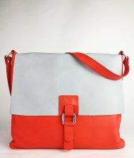 Dámská kožená kabelka FACEBAG LUCY - Korálová + šedá hladká