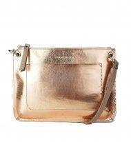 Dámská kožená kabelka FACEBAG - CANNET - Metalická růžová hladká