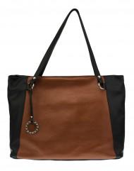 Kožená kabelka FACEBAG ROSA - metalická cihlová + tmavě hnědá