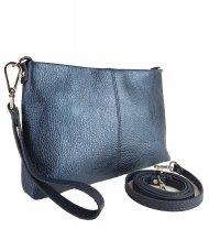 Dámská kožená kabelka FACEBAG MAXA - Metalická modrá *dolaro*