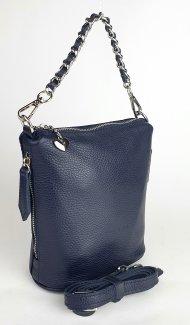 Dámská kožená kabelka FACEBAG EMMA I. - Tmavá modrá *dolaro*