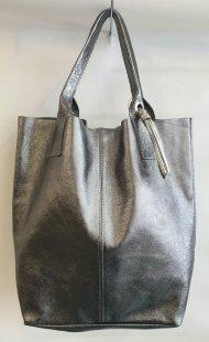 Dámská italská kožená kabelka 1621 - Stříbrná