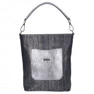 Dámská kožená kabelka FACEBAG LINA - Pletené stříbro
