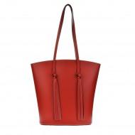Dámská italská kožená kabelka GESA - Červená