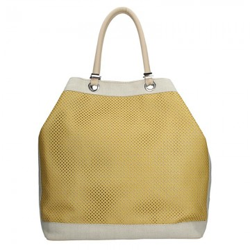 Dámská kabelka FACEBAG SERENA v kombinaci látky a kůže - žlutá + béžová