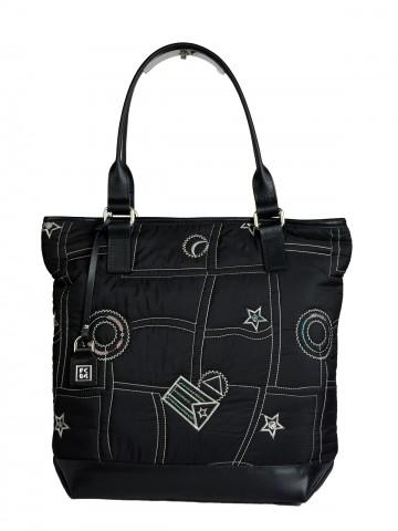 Dámská látková kabelka FACEBAG JANA - Černo-bílá látka + kůže