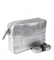 Dámská kožená kabelka FACEBAG NINA - Světle stříbrná hladká