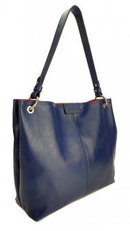 Dámská kožená kabelka FACEBAG LILLE - Tmavá modrá hladká