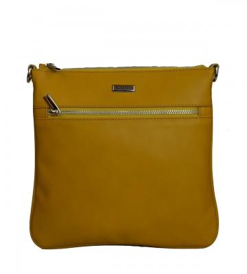 Dámská kožená kabelka FACEBAG VILMA - Tmavá žlutá