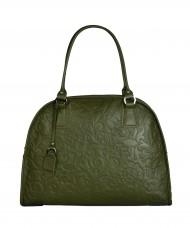 Dámská kožená kabelka FACEBAG RITA - Zelená se vzorem květin