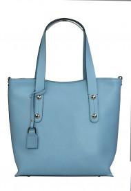 Dámská kožená kabelka FACEBAG IRENE - Světlá modrá