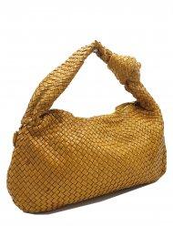 Kožená kabelka 3349 hořčicová vintage