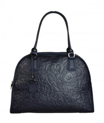 Dámská kožená kabelka FACEBAG RITA - Tmavá modrá se vzorem květin