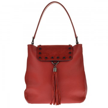 Dámská kabelka - kombinace kůže a semiše JOLIE - Červená
