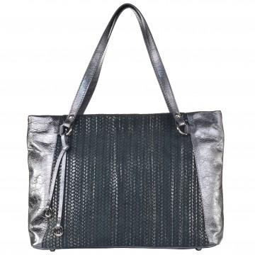 Dámská kožená kabelka FACEBAG ROSA - Stříbrná