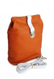 Dámská kožená kabelka FACEBAG ANNA - Oranžová + bílá hladká