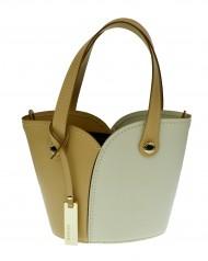 Dámská italská kožená kabelka RIPANI SPACCACUORE - Béžová