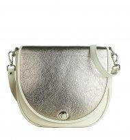 Dámská kožená kabelka FACEBAG LILI 1 - Béžová + zlatá